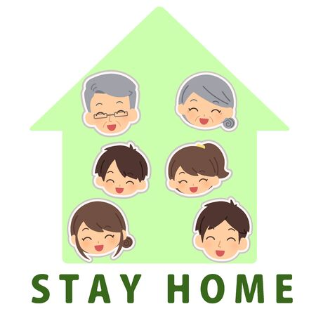 The family who stands by at home Illustration