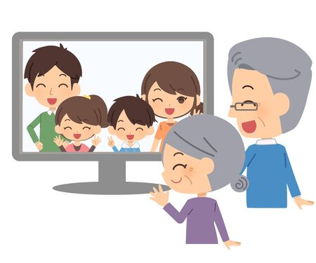 The family who returns home on-line Illustration