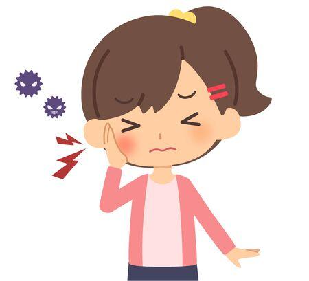 The child who has a toothache Vektorgrafik