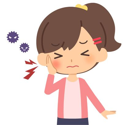 The child who has a toothache Vector Illustration