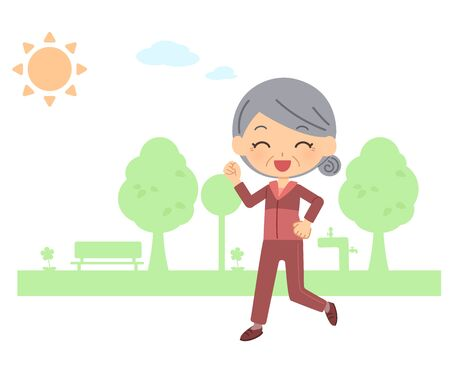 The senior citizen who walks Illustration