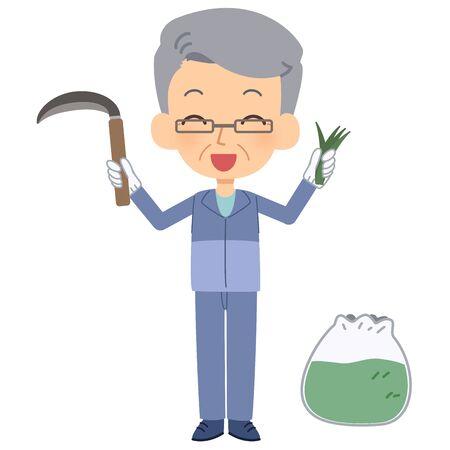 The senior citizen who mows the grass