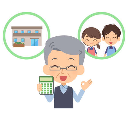 People who are comfortable with care fees  イラスト・ベクター素材