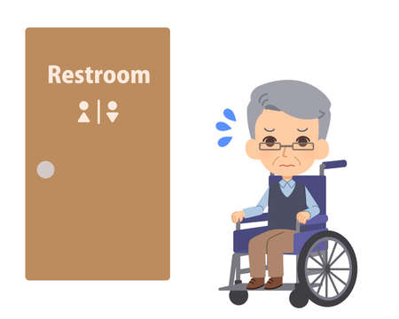 Seniors in wheelchairs who have difficulty going to the bathroom