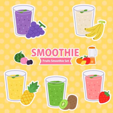 smoothie fruit set Illusztráció