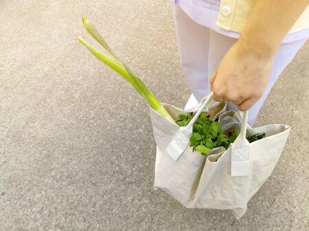 Young women use recyclable bags to shop for vegetables in the fresh market in the morning to reduce global warming.