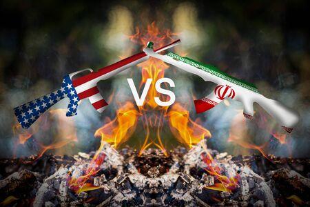 Iran und USA-Krisenkriegshintergrundkonzept Standard-Bild