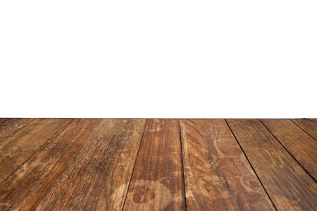 Wood table isolate white background and copy space for a product