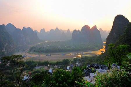 The landscape view of Lijiang River in Guilin Stock Photo