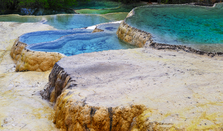 Huanglong Scenic and calcification pool Stock Photo