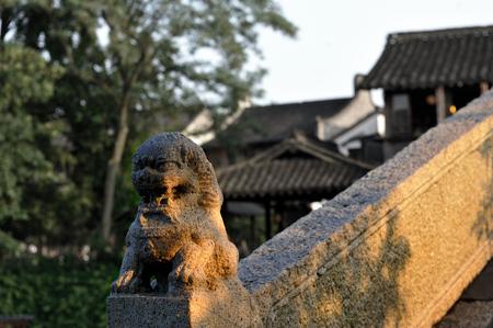 stone lion: Closeup to a stone carved lion