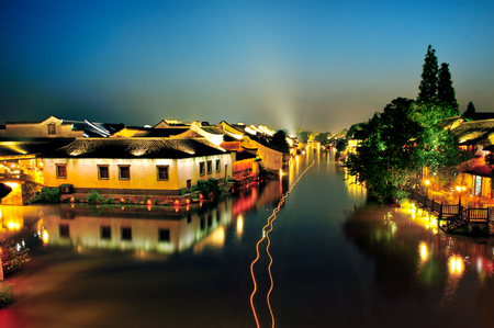 pedestrian bridge: Night view of Wuzhen ancient town