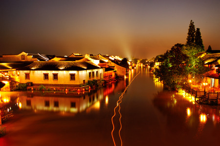 water town: Night view of Wuzhen ancient town