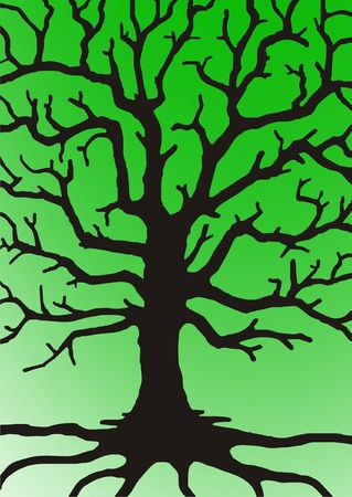 bough: illustration tree with branches on green gradient a background