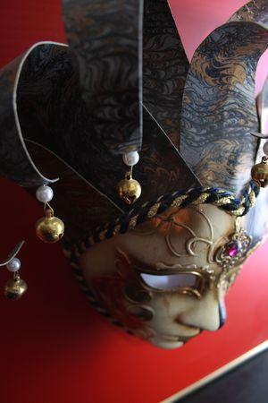 antyk: W starożytności teatr Maska pokryta nakrętkę i dzwonki Zdjęcie Seryjne