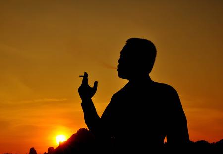 Silhouette , Smoking photo