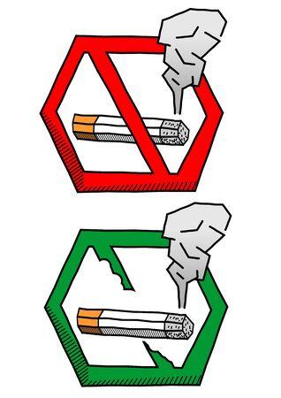 No smoke sign look like hand drawing