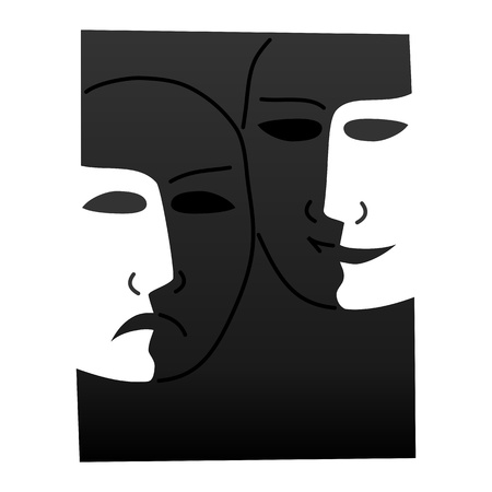 pantomime: Theatre masks lucky sad on a dark background- illustration