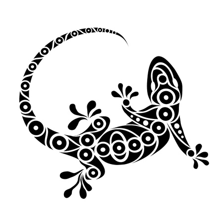 reptile: illustration of a tribal gecko design Stock Photo