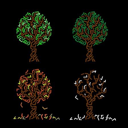 Abstract tree illustration, four season, like chalk drawings on the blackboard