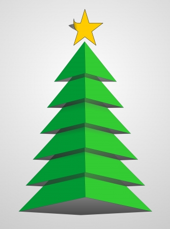 Christmas tree from paper with yellow star photo
