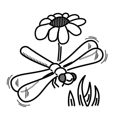 funny drawing of dragonfly for children to coloring photo