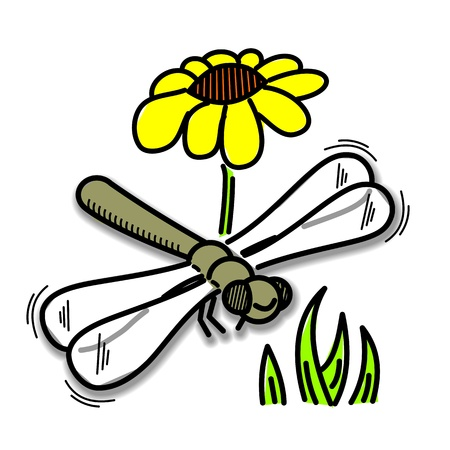 funny drawing of dragonfly for children