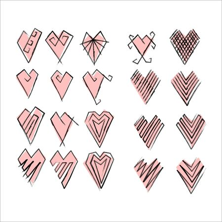 pink hearts set for wedding and valentine design hand draw