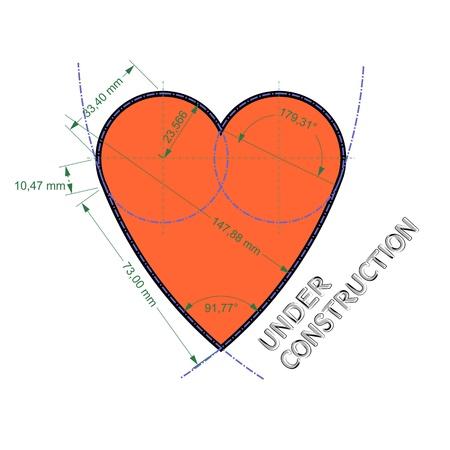 Stylized drawing of heart symbol like technical drawing
