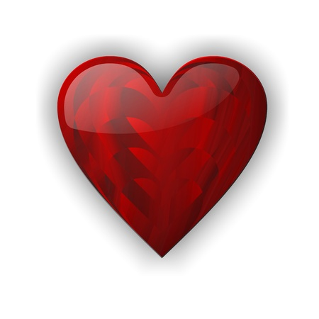Red heart love with shiny texture on white background