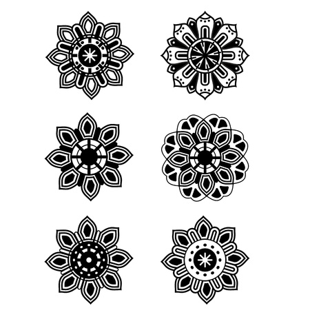 outline flower: Decorative set design flowers black and white simple silhouette