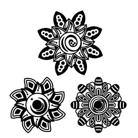Decorative set design flowers black and white simple  silhouette Standard-Bild
