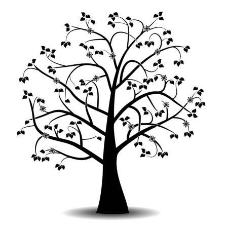 Art tree black silhouette with leaves and flowers