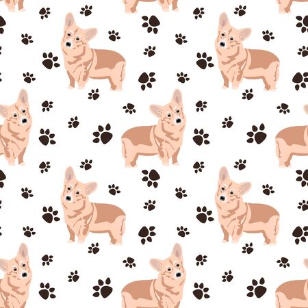 Vector seamless pattern with the image of beautiful Corgi dogs and dog tracks on a white background. Design for printing cards, invitations, poster, wrapping paper, fabric, bedding, clothes, textiles. Illustration