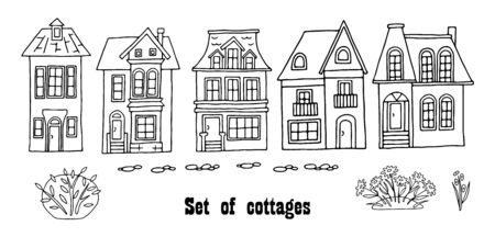 Many different houses, detached, single-family houses with gardens. Hand drawn vector illustration on a transparent background. Design for printing postcards, fabrics, posters.