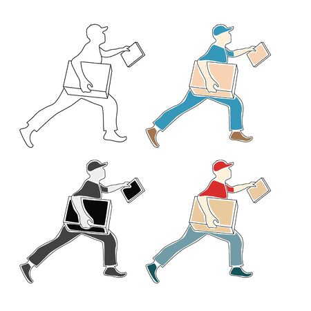 Fast shipping. Vector flat illustration of courier work with package. Hurried man with a box in his hand. Courier with a box in his hands. Иллюстрация