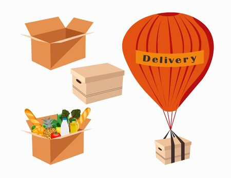 The balloons delivers the packages. Design for online store delivery service. Box of food. Vector illustration