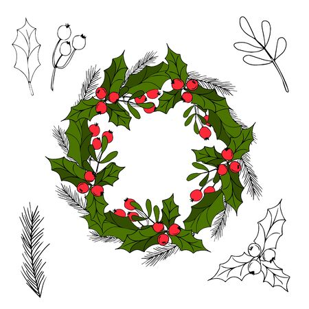 Hand drawn wreath with red berries and fir branches. Round frame for Christmas cards and winter design. Vector layout.Christmas mood.
