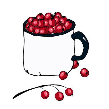 Bright christmas illustration depicting a white mug full of red berries and scattered berries nearby. Design for printing postcards, bookmarks for books, stickers, decorations, decor, poster.