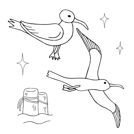 Seagulls vector sketch drawing by hand. Birds in flight and sitting on a wooden pole isolated. Design for coloring book, print poster, card, fabric, wrapping paper. Çizim