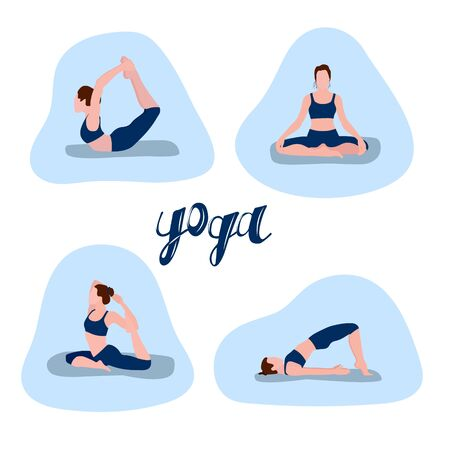A set of vector illustrations depicting a girl who shows yoga poses. Design for the design of a booklet, flyer, poster, site.