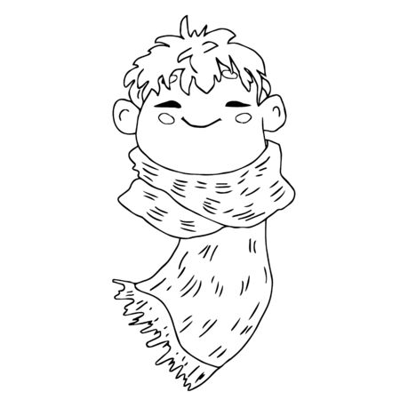 Face of a cute boy with a scarf.Vector graphics. Isolated object on white background. Outline hand drawn doodle childish illustration, coloring, comic. Vettoriali