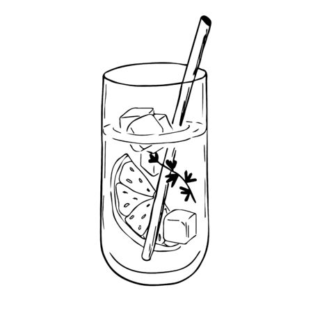 Hand drawn doodle sketch of alcoholic cocktails. Vector illustration of cocktail with lime. Design for decorating a restaurant menu, recipe, cards, poster, labels.
