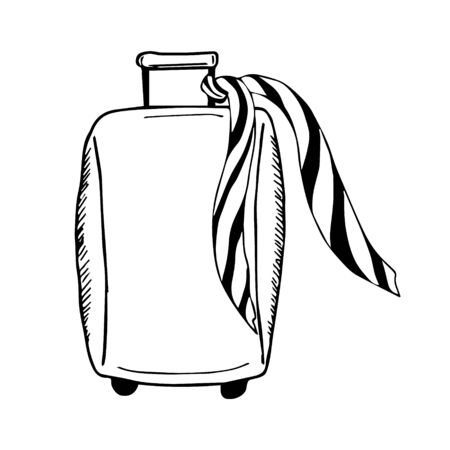 Suitcase stile doodle isolated on white background - vector illustration. Icon logo tourism, vacation summer concept.