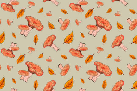 Autumn seamless pattern with mushrooms and autumn leaves. Suitable for design, brand logo, badge, printed cups, card, wrapping paper, textile.