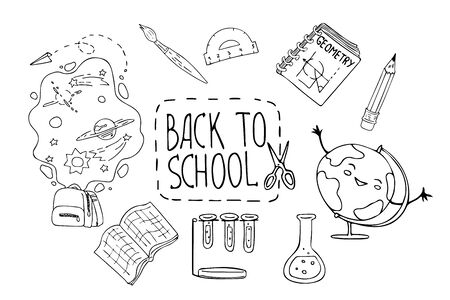 Hand drawn doodle style vector illustration Back to school. Education concept. Design for decorating a card, gift, printing wrapping paper, poster, t-shirt.