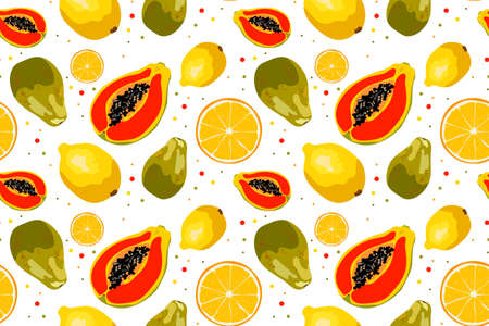 Vector seamless pattern with orange, papaya and lemon. Colorful design for decorating menus, recipes, fabric, cards, wrapping paper, fabric, clothing, website..
