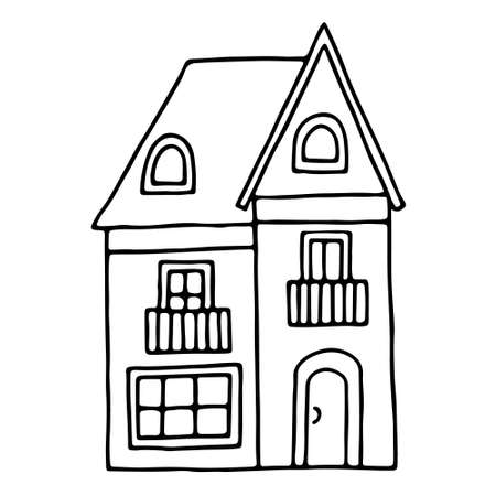 Vector contour illustration with the image of the house. Drawn by hand in doodle style. Purchase, sale and rental of real estate. Design for postcards, posters, fabrics, announcements.