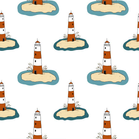 Vector seamless pattern with the image of lighthouses on a white background. Design for printing on a card, poster, invitation, fabric, bedding, wrapping paper, textile.