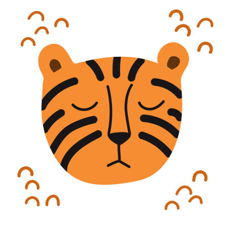 Vector illustration cute simple tiger head. Cartoon portrait in a flat design. Design for children, print on fabric and t-shirt, greeting card, poster. Illustration